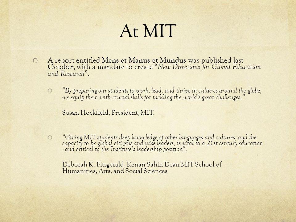 At MIT Susan Hockfield, President, MIT.