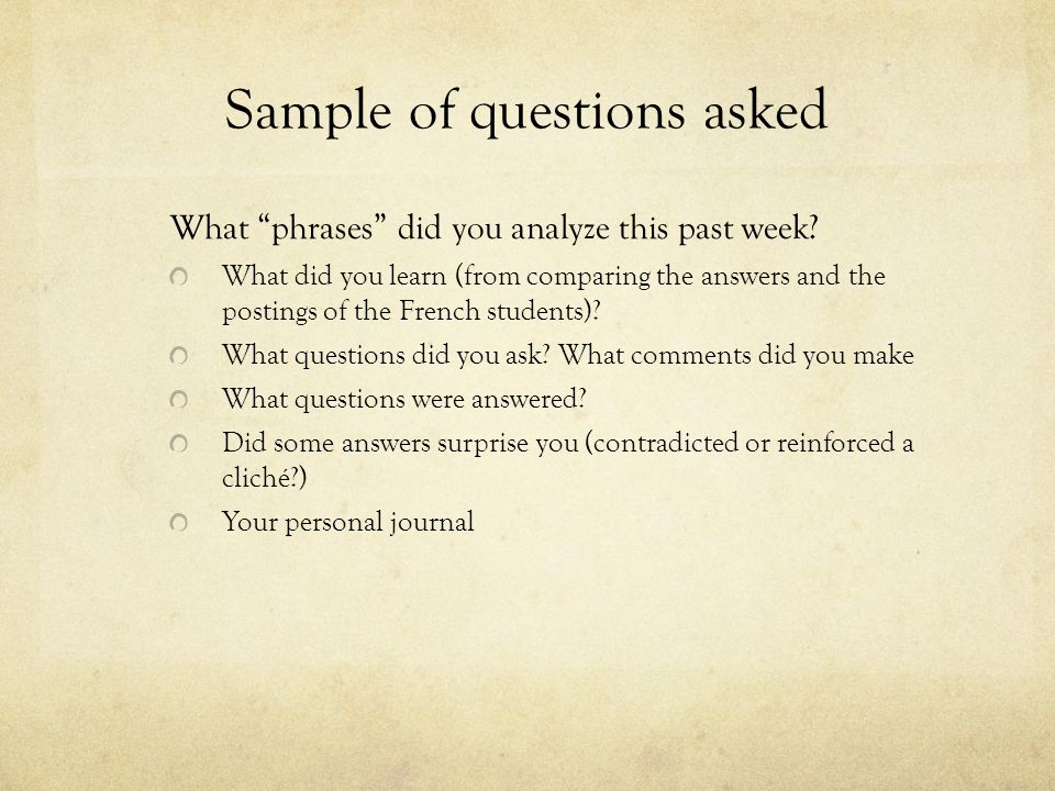 Sample of questions asked