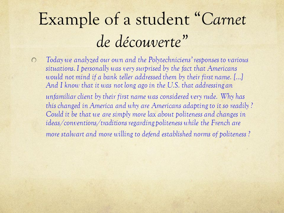 Example of a student Carnet de découverte