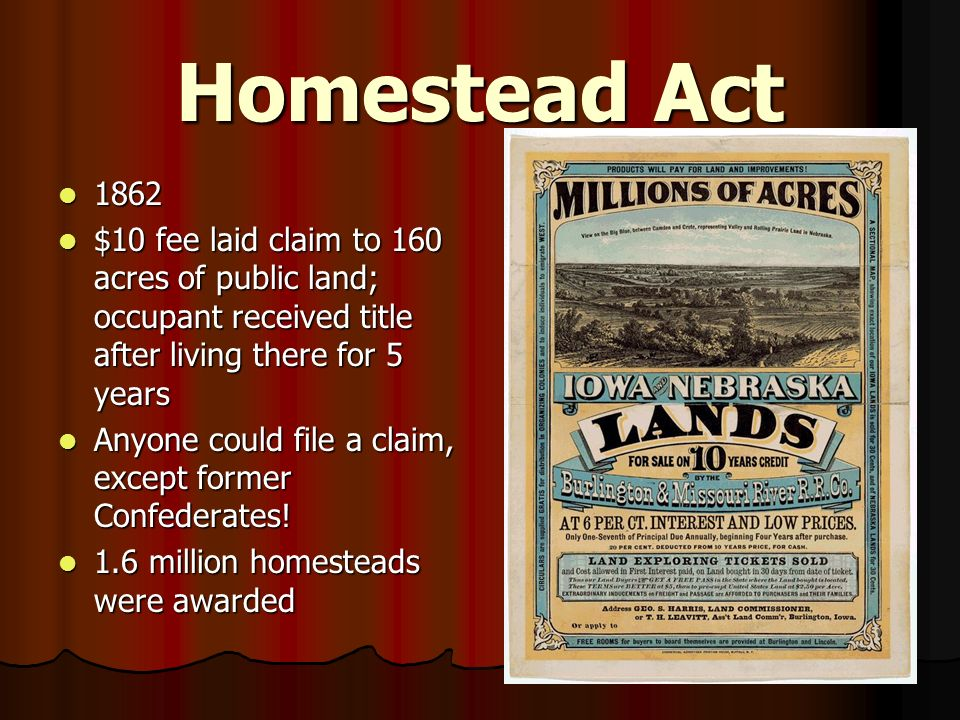 Go west young man ppt video online download for Kansas homestead act