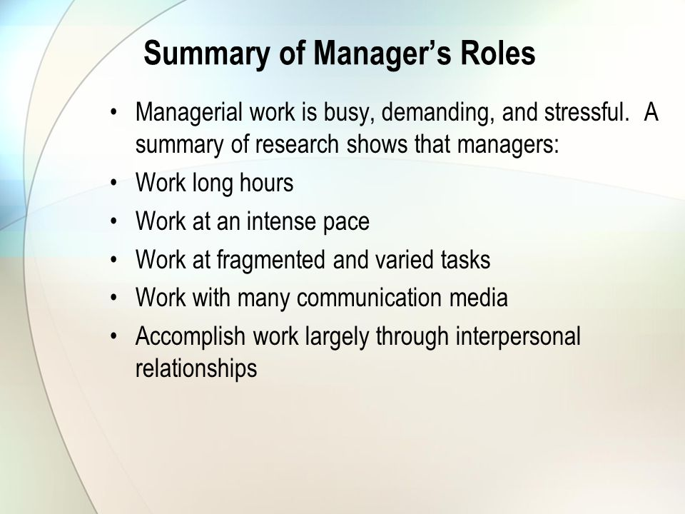 Summary of Manager's Roles