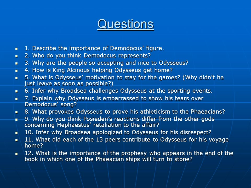 Discussion questions the odyssey book