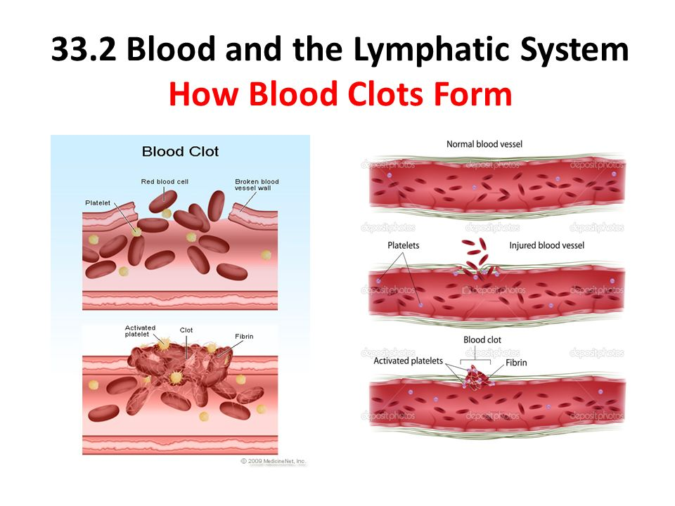 formation of blood clots