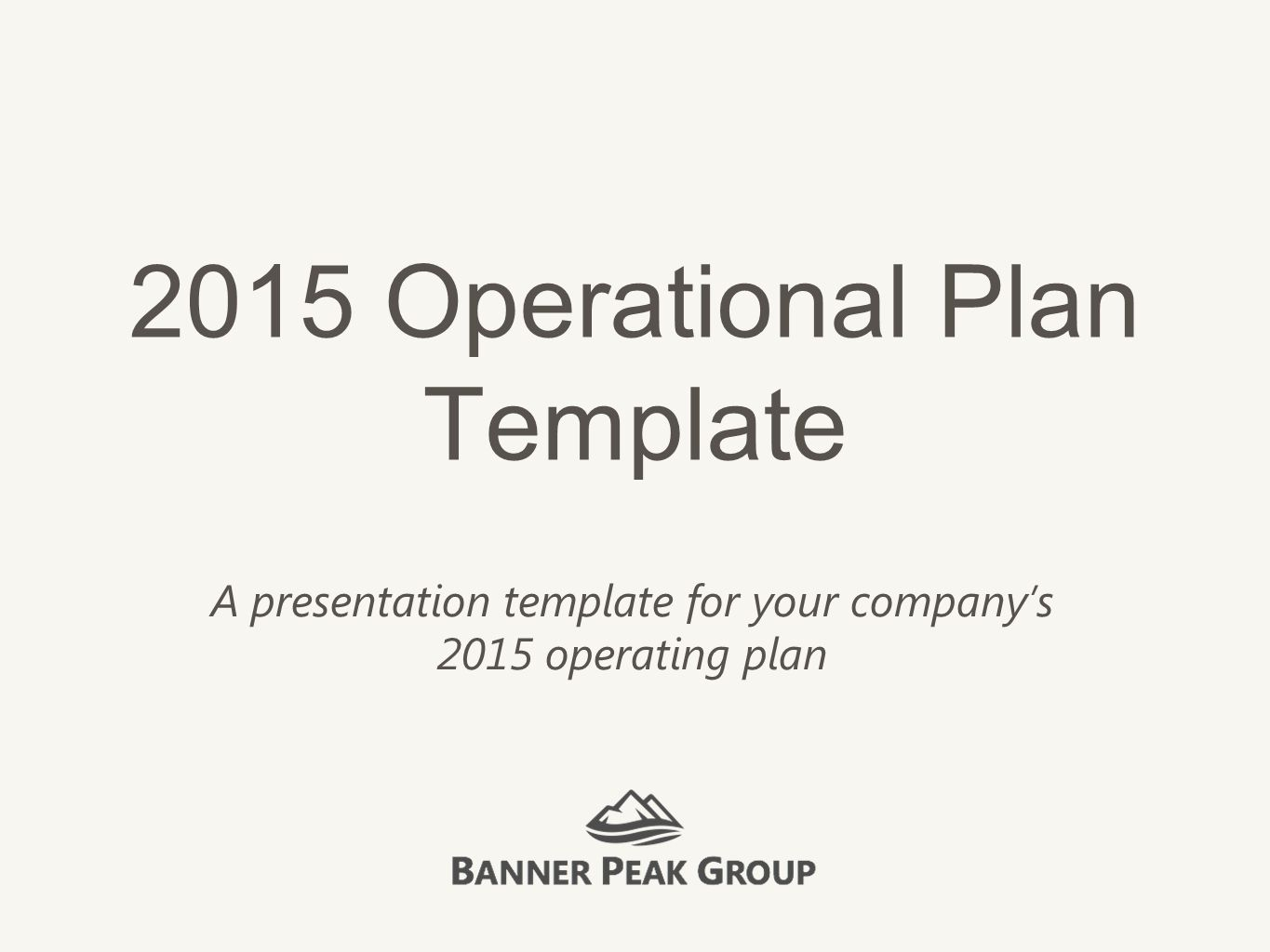 how to describe an operational plan