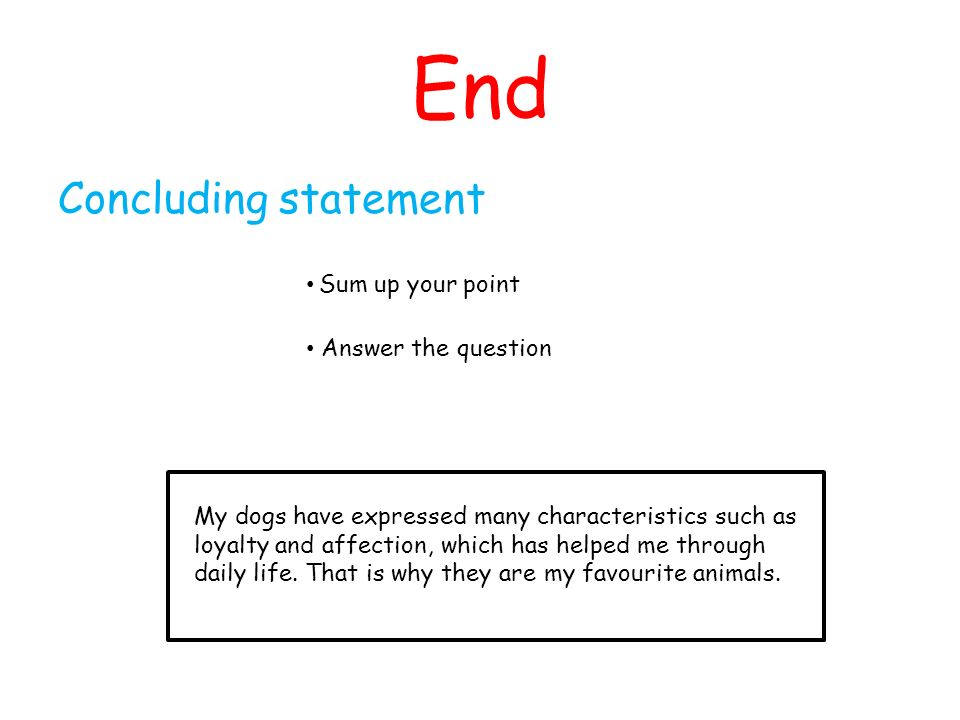 End Concluding statement Sum up your point Answer the question