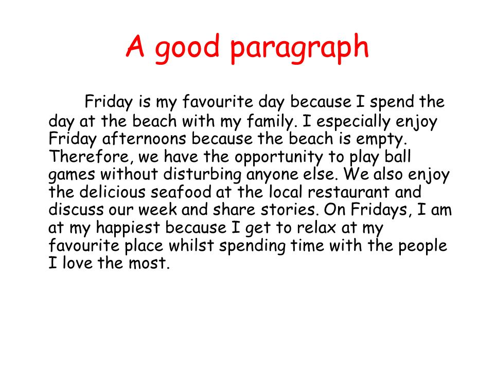 writing a good paragraph
