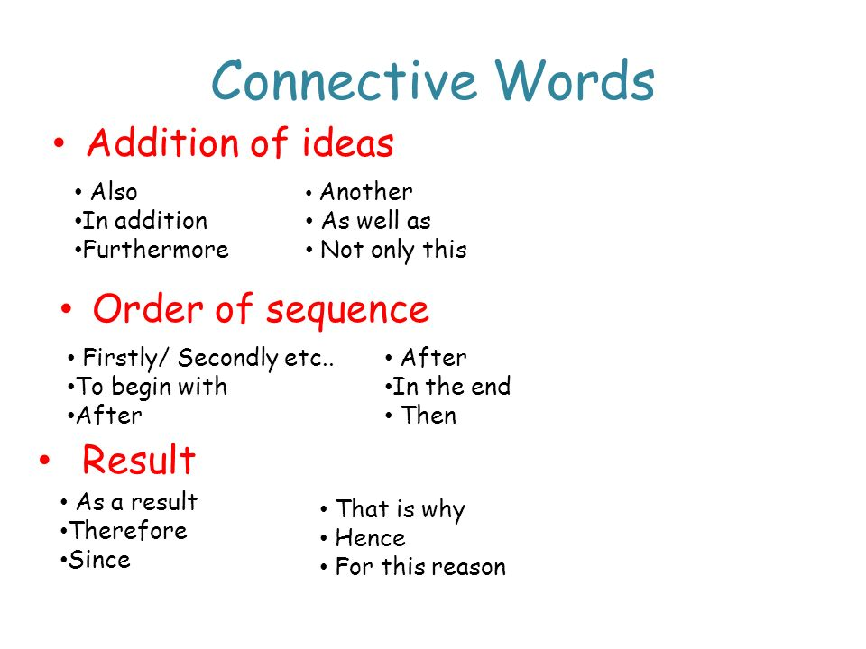 Connective Words Addition of ideas Order of sequence Result Also
