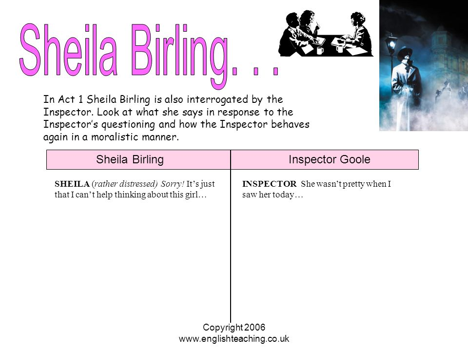 an inspector calls essay on sheila An inspector calls is a play set in spring 1912, just before the first world war, but written by jb priestley.