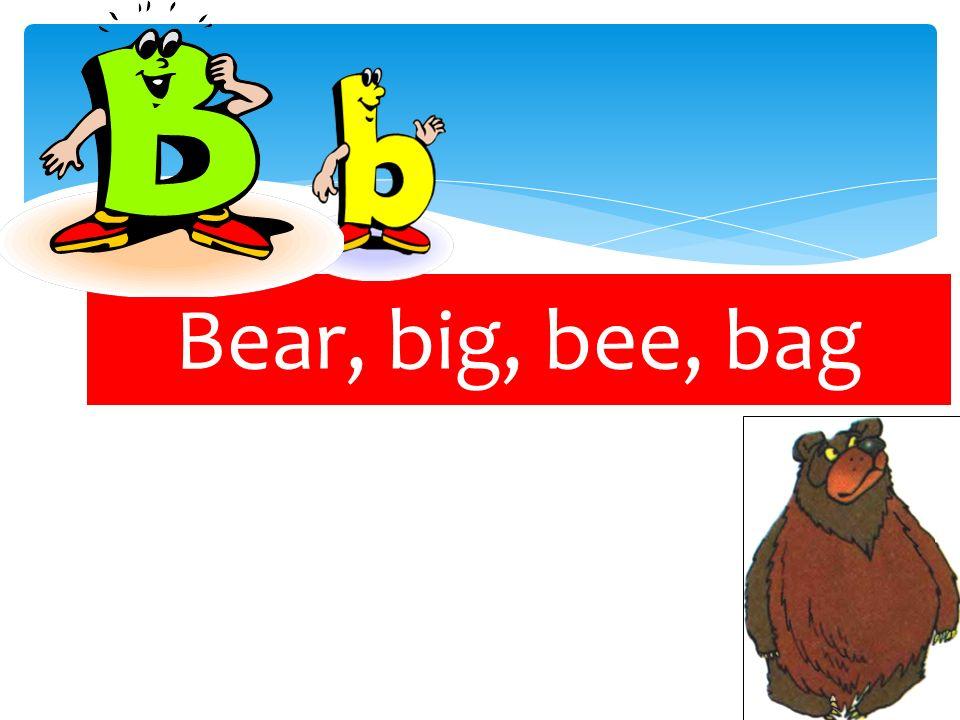 Bear, big, bee, bag