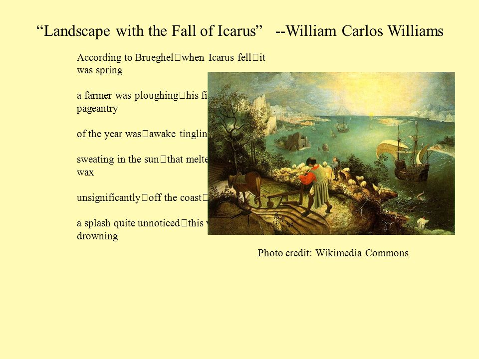 landscape with the fall of icarus poem analysis