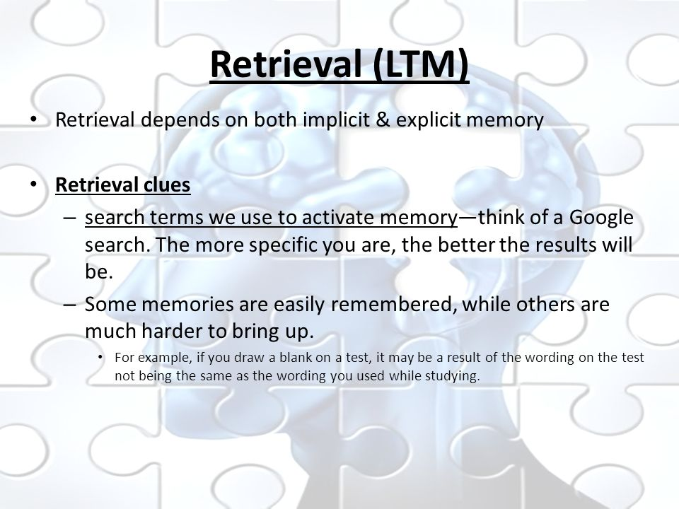 essay on memory retrieval Encoding, storage and retrieval: the processes of memorymemory is very complex and a little mysterious there is a lot to know about the way one can organize a.