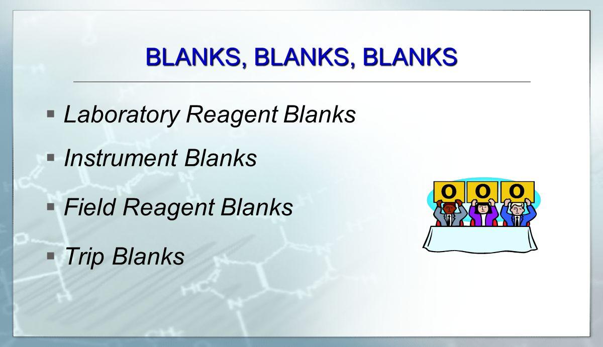 BLANKS, BLANKS, BLANKS Laboratory Reagent Blanks Instrument Blanks Field Reagent Blanks Trip Blanks