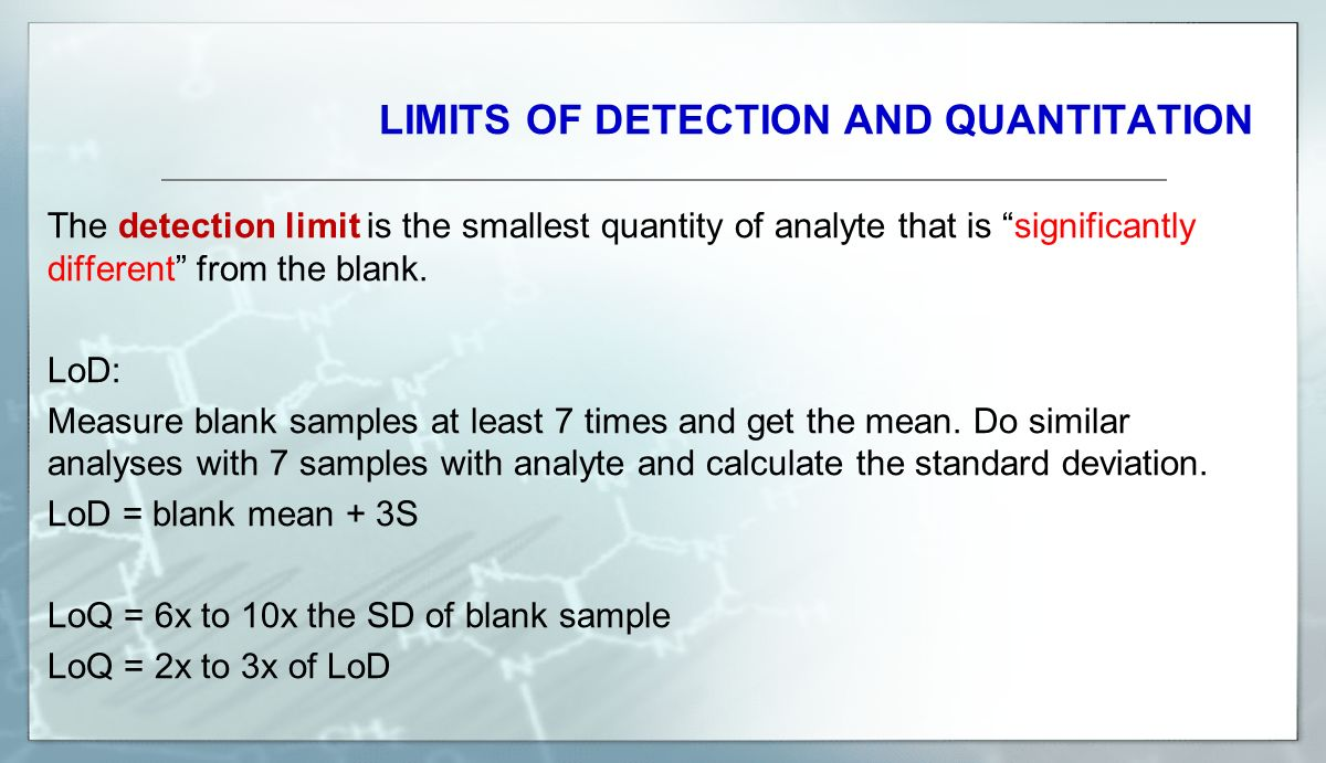 LIMITS OF DETECTION AND QUANTITATION