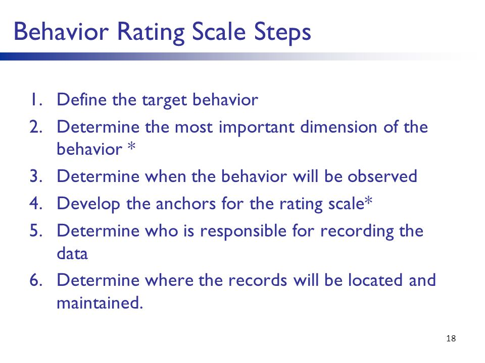 behavioral anchored rating scale essay Performance appraisal  the behaviorally anchored rating scale while the essay technique requires appraisers to write a report or answer a series of.