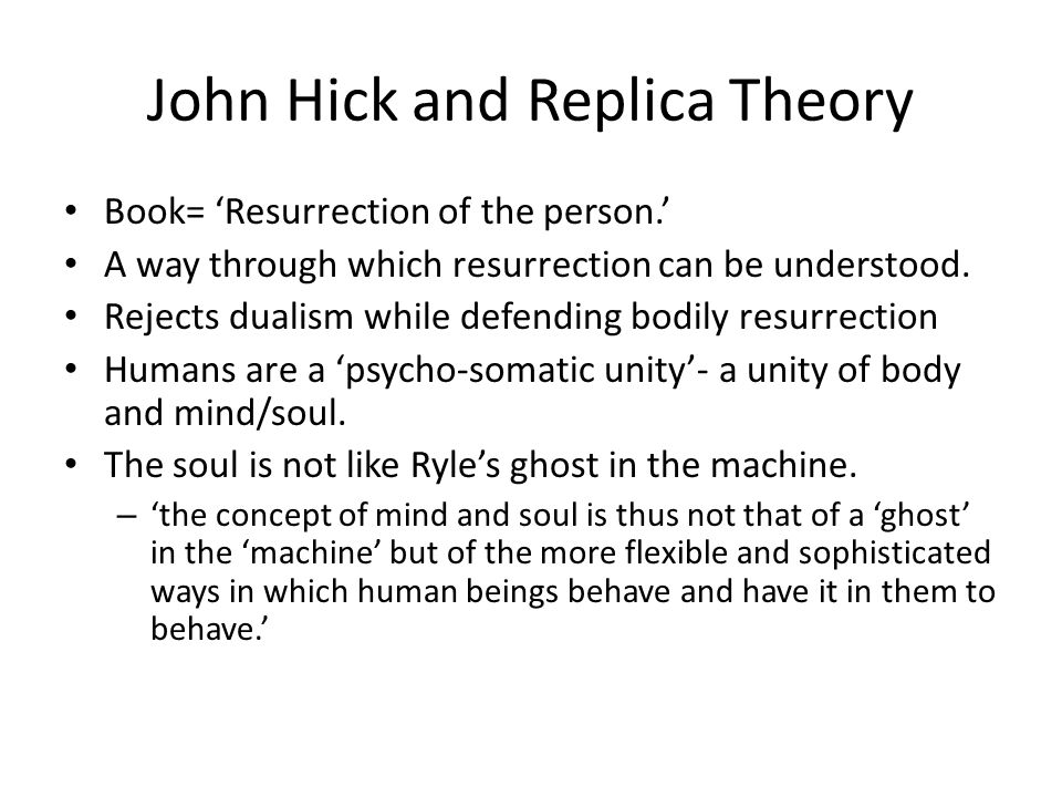 john hick argues that human beings [6] hick holds a critical realist view of religious phenomena  the nature of the  universe (temporal or eternal) and the fate of human beings at death (one life or .