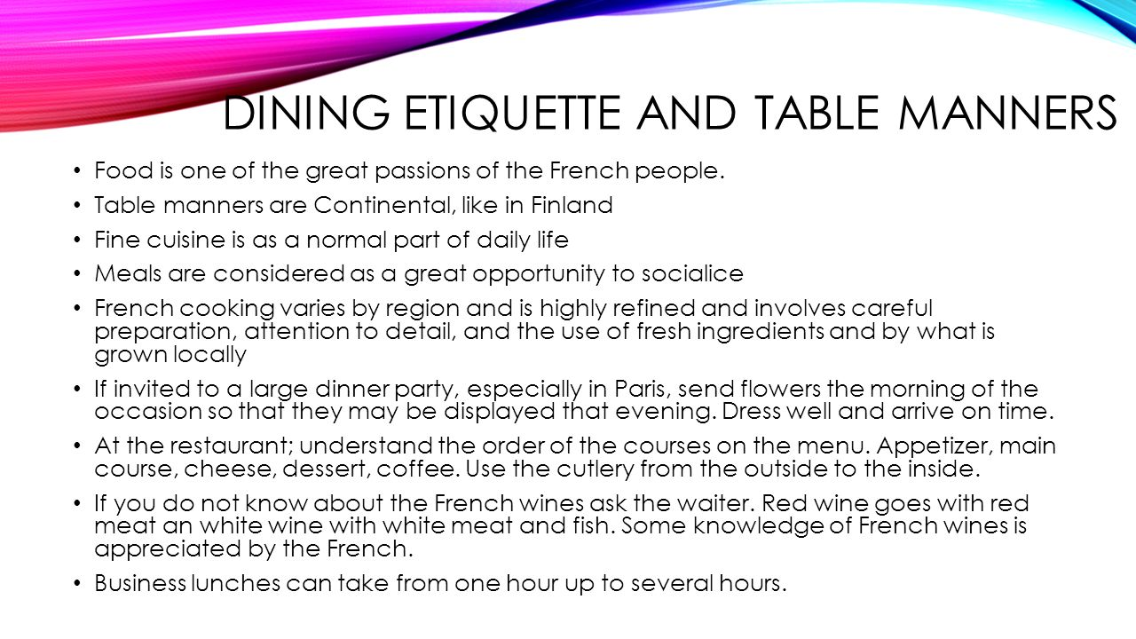 Intercultural communication ppt download - Table manners and etiquette ...