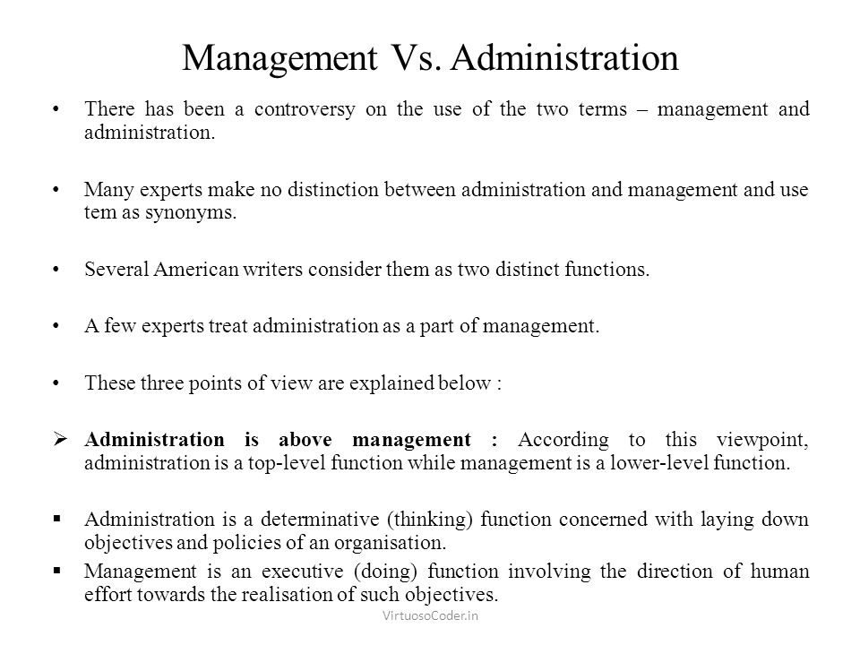 Whats The Difference Between Administrative And Executive >> Management Vs Administration