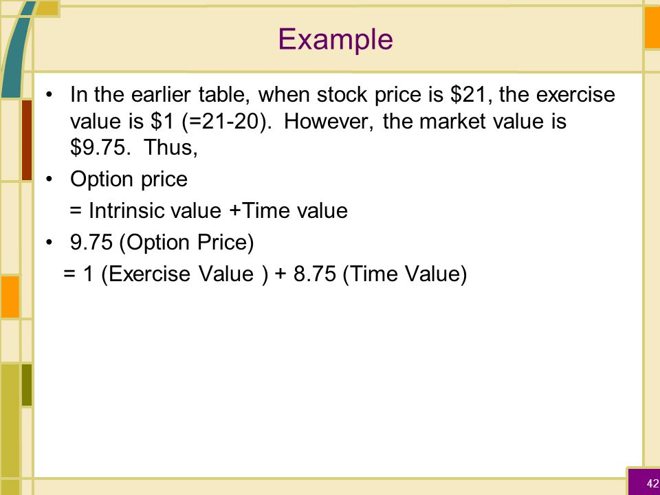Stock options market value