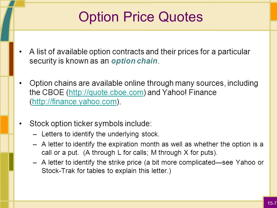 Stock options quotes api