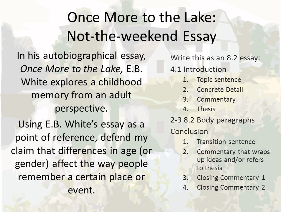 once more lake 1 Once more to the lake is an essay written by eb in which the author tries to   this was the note that jarred, the one thing that would sometimes break the.