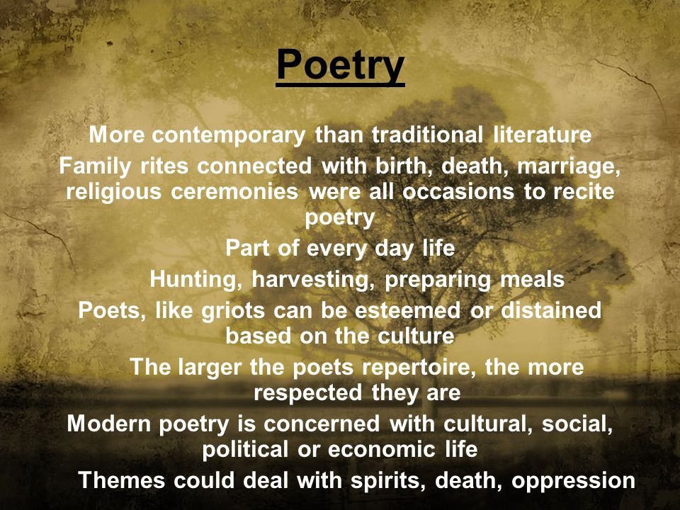 Poetry More contemporary than traditional literature