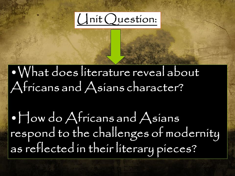 What does literature reveal about Africans and Asians character