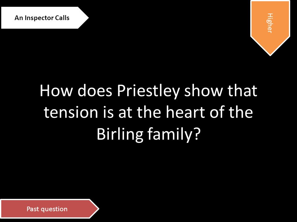 how does priestley show that tension is at the heart of the birling family Tension is an element that has been intricately woven at the heart of the birling family the birling's are a family of two generations the older assertive and callous generation and the younger ambitious generation with not yet fully sculpted minds.