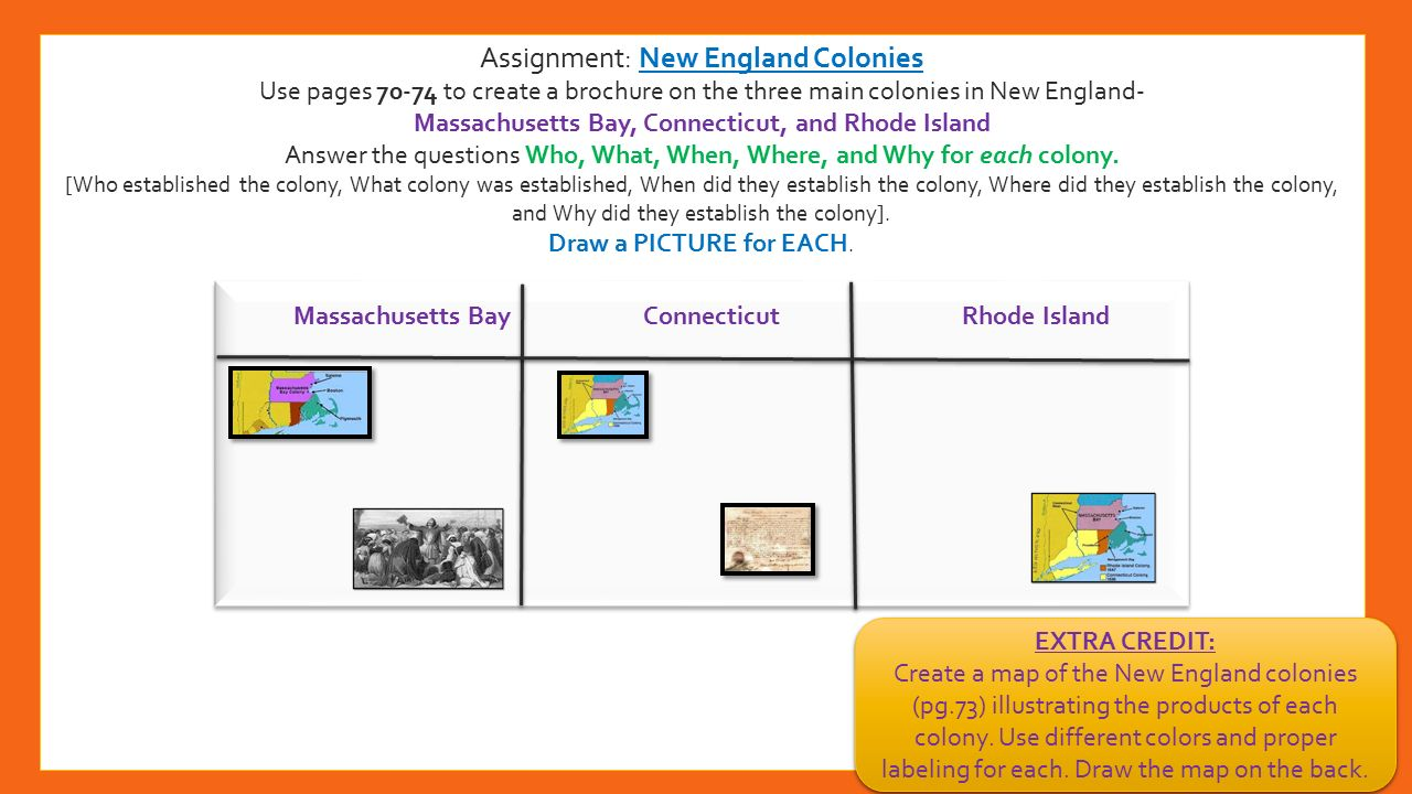 powerpoint on england colonies The environment of the new england colonies the climate of the new england colonies was colder than the other two learning powerpoint.