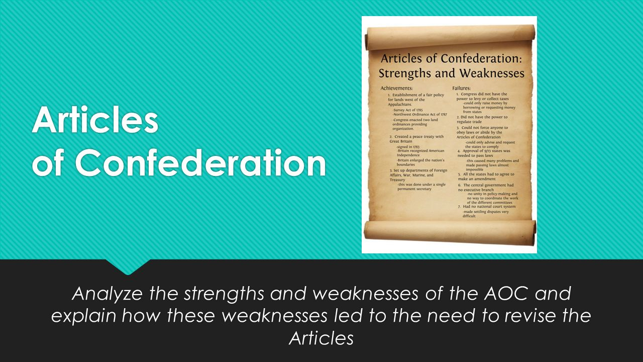 the defects in the articles of confederation The articles of confederation, formally the articles of confederation and perpetual union, was an agreement among the 13 original states of the united states of america that served as its first constitution.
