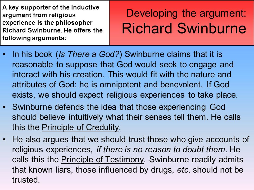 the argument from religious experience for the existence of god essay 1 the goals of theistic arguments before attempting to explain and assess moral arguments for the existence of god, it would be helpful to have some perspective on the goals of arguments for god's existence.