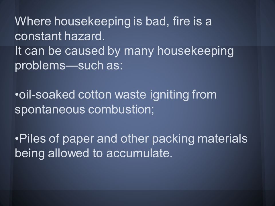 industrial housekeeping essay A training video explaining how good housekeeping is everyone's responsibility  and obligation as part of their commitment to safety in the workplace.