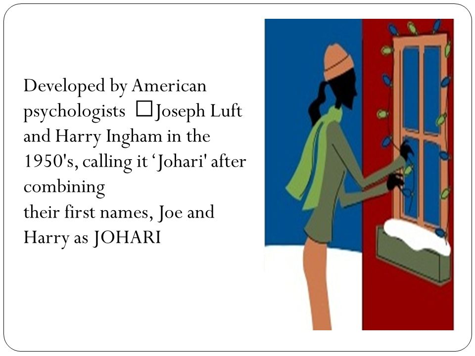 """ingham and luft s johari window The johari window model was developed by two psychologists interestingly, they called their johari window model """"johari"""" after combining their first names, joe and harry (joseph luft and harry ingham."""