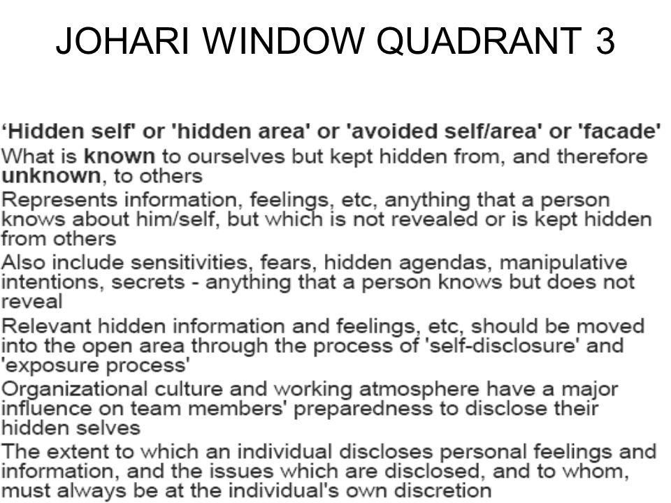 Johari window a model of self awareness personal for Window quadrant