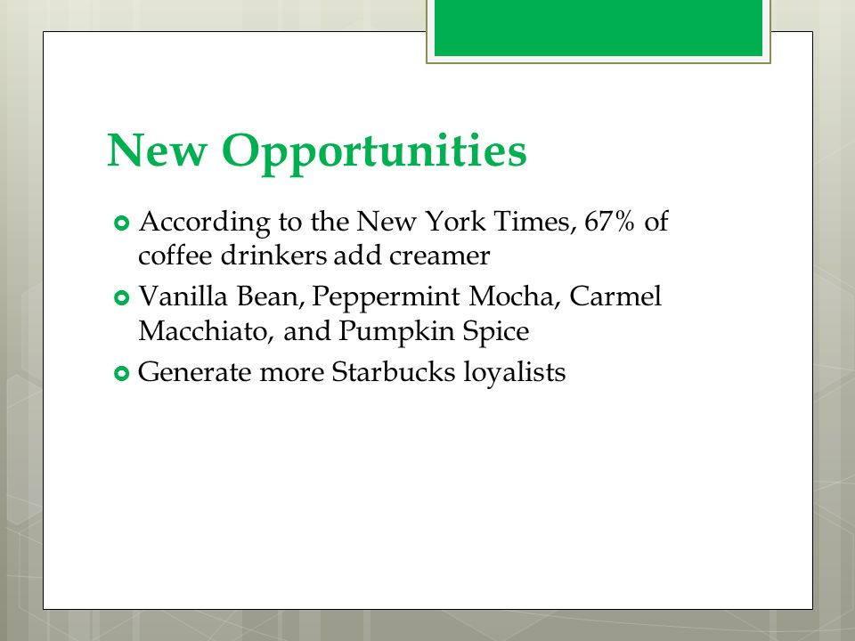 3 marketing opportunities for starbucks Smart marketing is no accident we list 6 reasons starbucks' marketing communications is so effective.