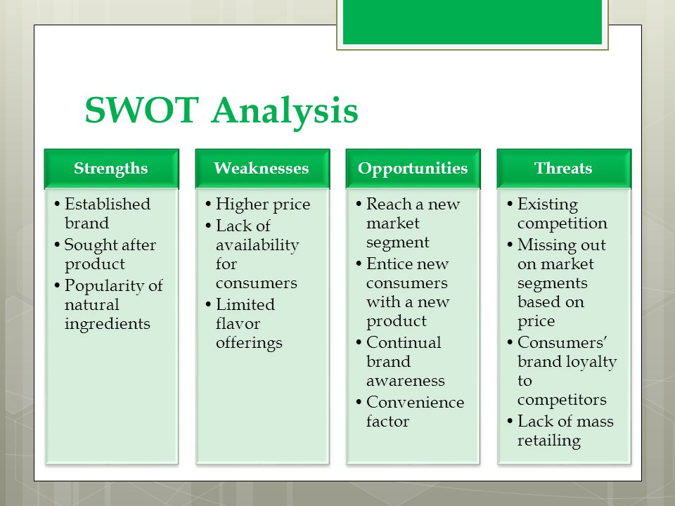starbucks corporation swot analysis marketing essay Management 303 swot analysis of starbucks corporation section i – organizational history / mission statement in 1971, starbuck's opened its first location in the touristy pikes place market in seattle.