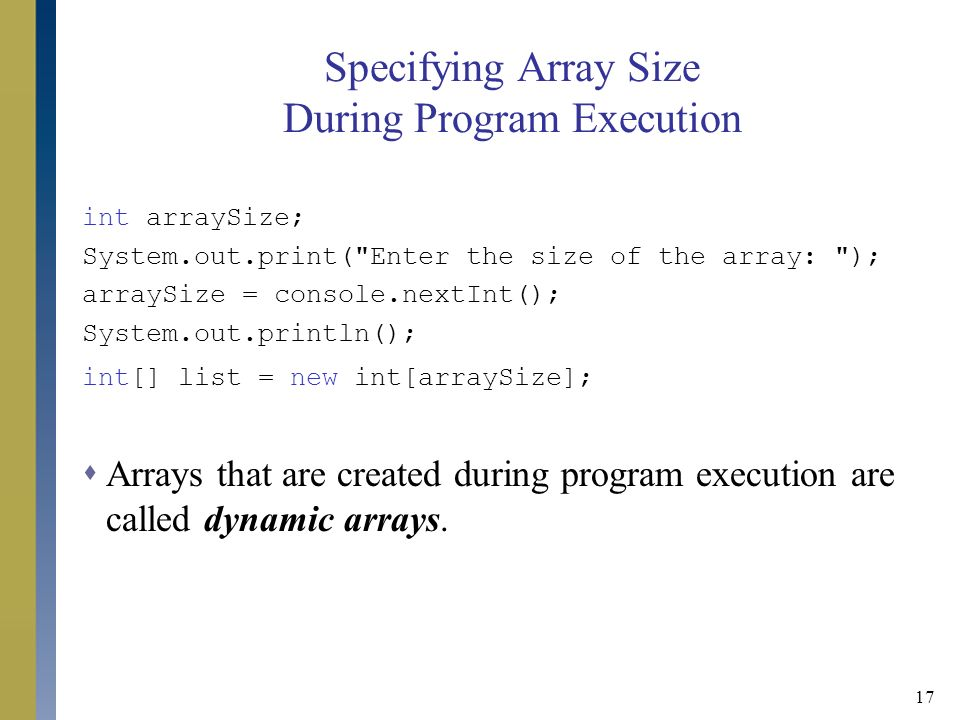 how to make an array with dynamic size java