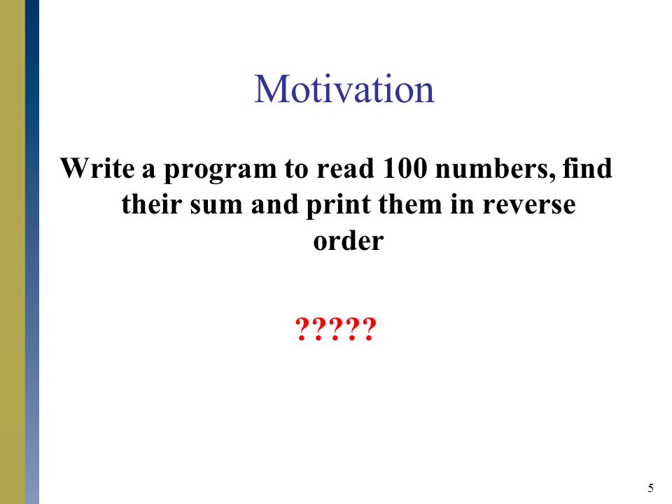 Java programming chapter 9 arrays ppt video online for Read in reverse