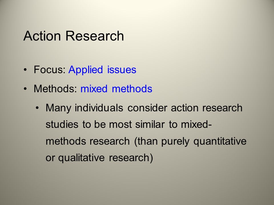 action research method Define action-research: the use of techniques of social and psychological research to identify social problems in a group or community coupled with.
