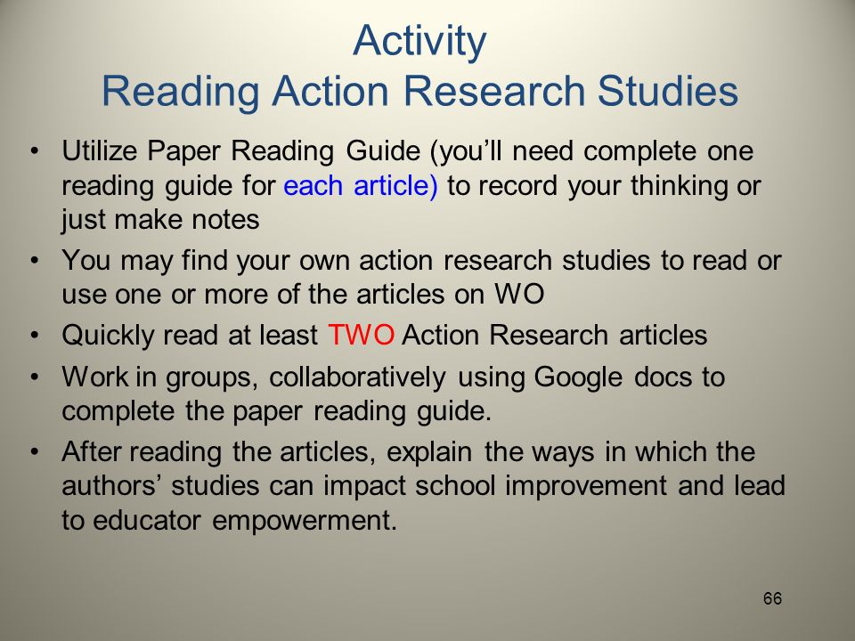 Action research papers and reading