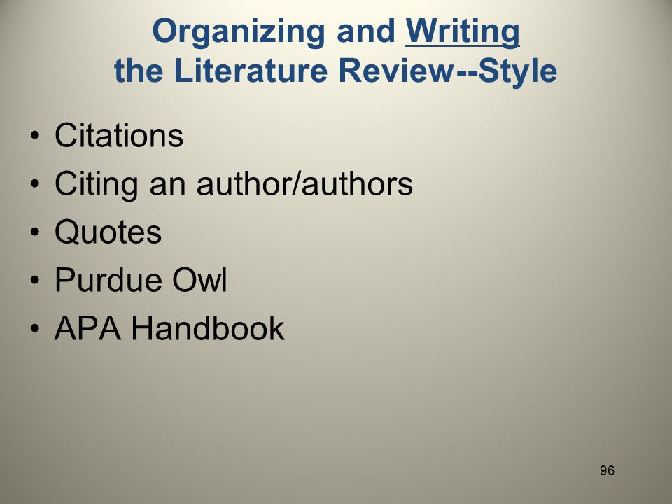 purdue owl literature review Spangenberg, cmpl/engl 267 syllabus 1 world literature 1700 to now: cmpl 267 / engl 267 fall 2010, purdue university brady spangenberg office: heav 325a, 494-3745.
