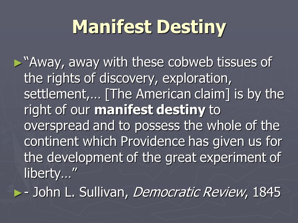 race and manifest destiny essay Free essays from bartleby | reginald horsman's race and manifest destiny: the orgins of american racial anglo-saxonism explores the evidence and the ideas behind manifest destiny played an important role in the development of the united states by allowing the territorial expansion of the 1800s.