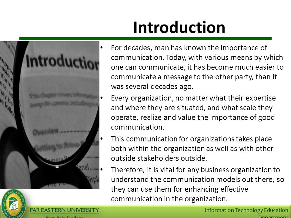 an introduction to the importance of communication in business Communication is a critical aspect of life, and that is certainly no different in a business environment, where lack of communication can cost millions.