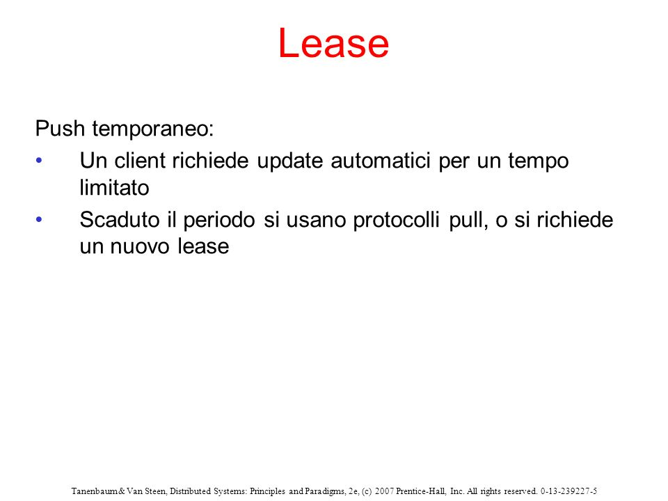 Lease Push temporaneo: