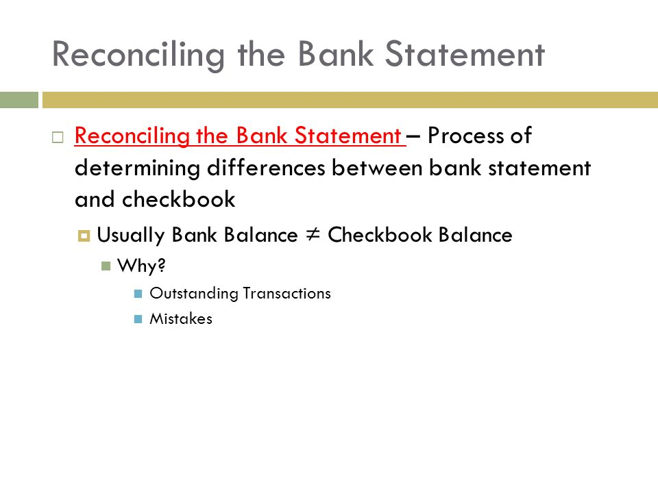 Reconciling The Bank Statement  Bank Statement Reconciliation Form
