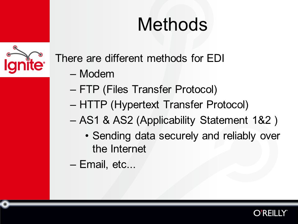 an overview of edi a method of data transfer Edi claims process (froi) overview flexible in the support of a variety of edi systems file transfer transmission method used to send data files to.