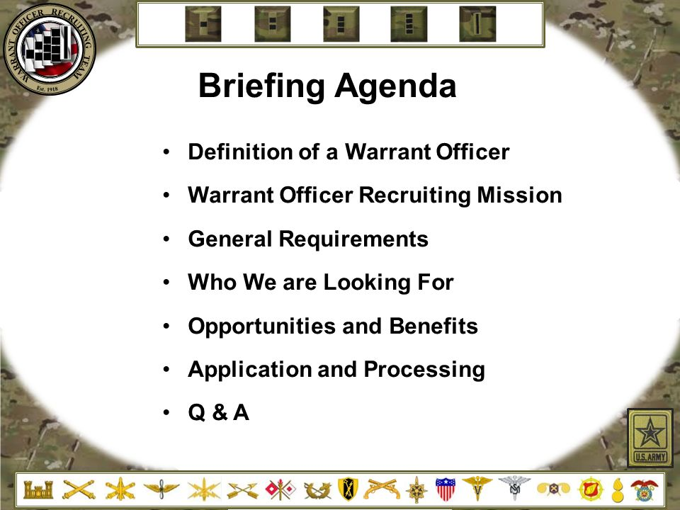 Briefing Agenda Definition Of A Warrant Officer