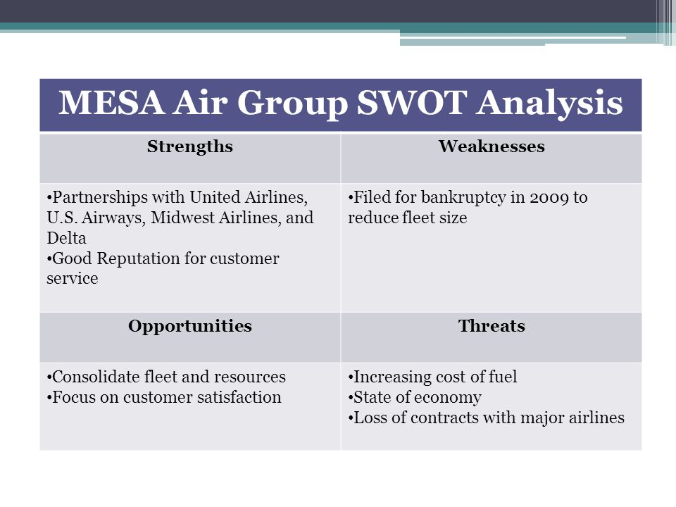 skywest swot Swot analysis of expressjet airlines is covered along with segmentation, targeting, positioning it also talks about usp, tagline and competitors.