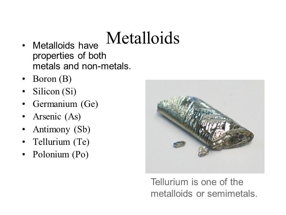 a report on boron a semi metallic element The other element, boron, is classed as semi-metallic report abuse comment add a what are the metallic elements foundin group 3a.