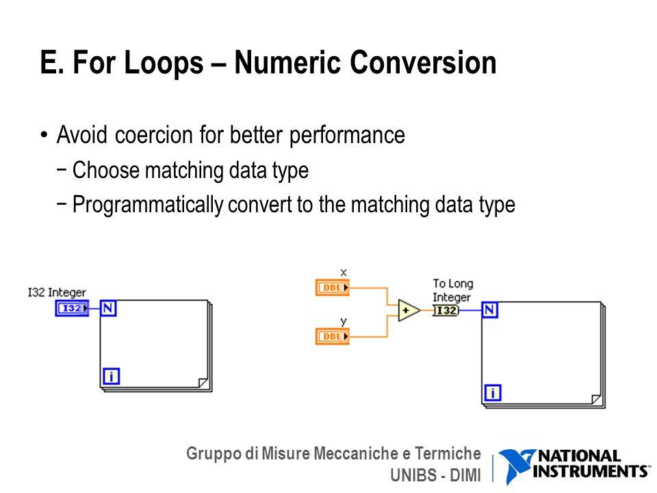 E. For Loops – Numeric Conversion