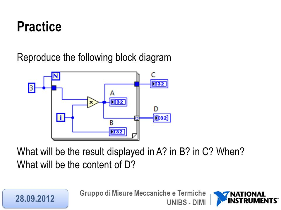 Practice Reproduce the following block diagram What will be the result displayed in A in B in C When What will be the content of D